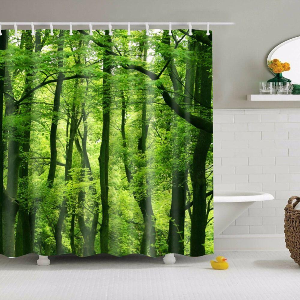 3D Rideau De Douche Vert Forêt Salle De Bain Rideaux Motif Nature Imperméable Polyester Tissus de Bain Rideau 180*180 cm