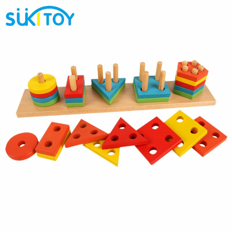 Montessori Learning Education Wooden toys Shape blocks EducationaL Toys for children creative interactive preschool toy