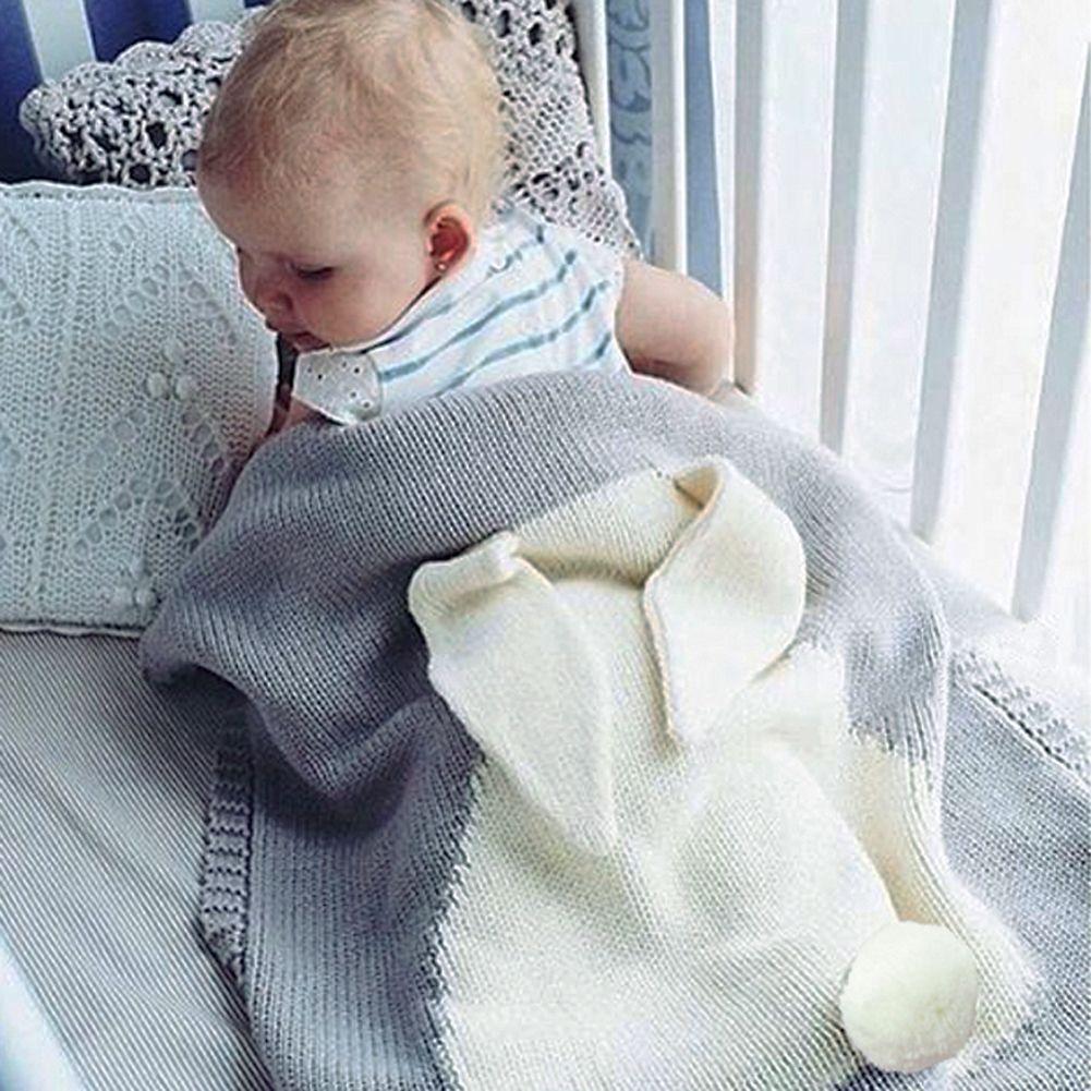 С рисунком кролика детское одеяло шерсть вязаные крючком маленьких Обёрточная бумага мягкий пеленание новорожденных Постельные принадлеж...