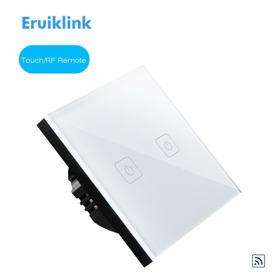 Eruiklink EU Type commutateur de télécommande 1 gang 2 gang 3 Gang 1 voie, RF433 commutateur mural intelligent, commutateur de lumière tactile RF sans fil à distance