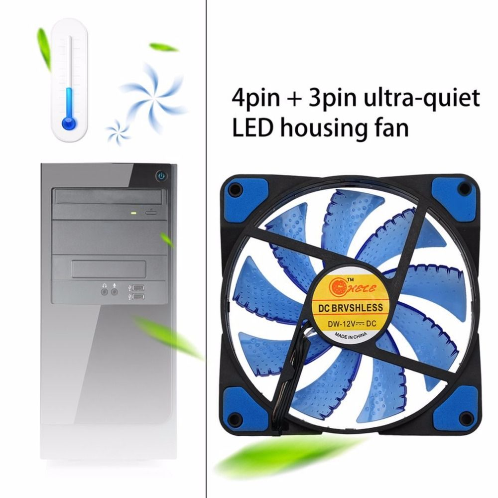 Neue Kühler Computer-Fan 120mm LED Ultra Silent Computer PC Gehäuselüfter 15 LEDs 12 V 1500 RPM 3 Pin Einfach Installiert Fan