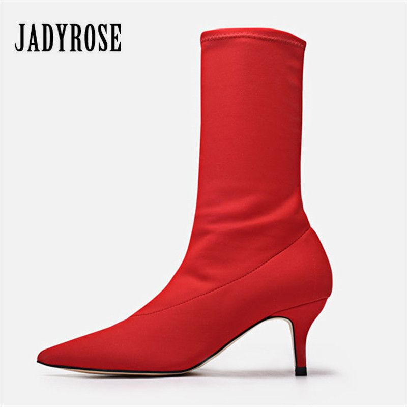 Jady Rose 2018 New Female Sexy Stiletto Sock Booties Stretch Fabric Pointed Toe High Heels Ankle Boots Women Pumps Botas Mujer