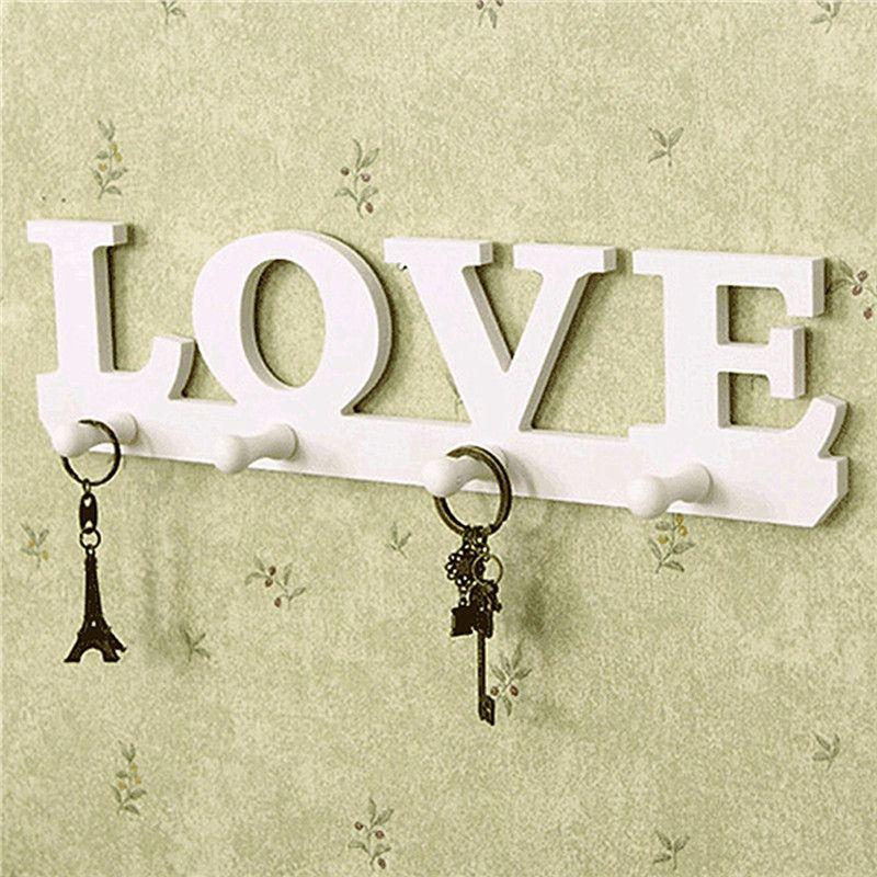 Винтаж белый любовь пальто Hat Key Holder 4 Крючки одежда мешок одеяние винта крепления настенный стойку двери Ванная комната Домашний Декор веша...