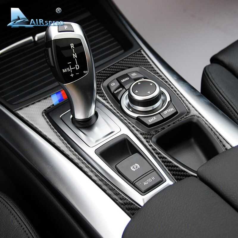 Airspeed Carbon Fiber Car Gearshift Panel Frame Cover Decorations LHD for BMW E70 X5 E71 X6 2008-2013 Accessories Car Styling