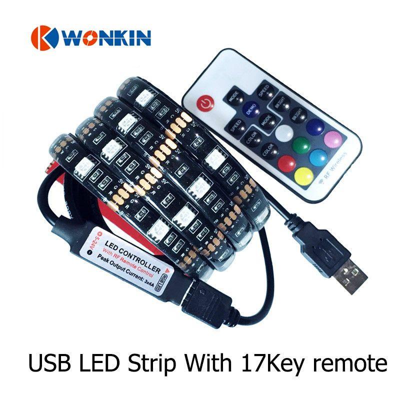 5050 LED Lumière de Bande Flexible USB 1 M 2 M DC5V TV Fond Éclairage RGB LED bande IP20 IP65 24 v étanche