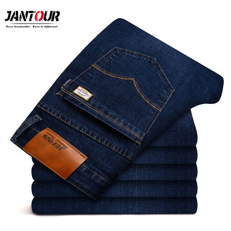 2018 new jantour Jeans Men Fashion Brand-Clothing Male blue Pants man quality Flannel Casual Trousers Jean big Size 40 42 44 46
