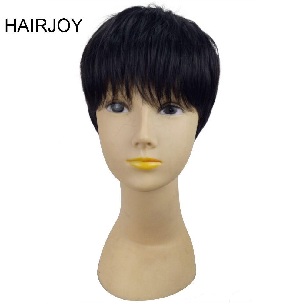 Hairjoy парик 1b Цвет короткие прямые синтетические женщина Pixie волос высокого Температура Волокно Бесплатная доставка 2 цвета доступны
