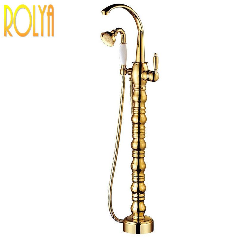 2017 Wholesale High Quality Luxury Gold Tap Floor Mounted Bathtub Shower Mixer Free Standing Bath Filler