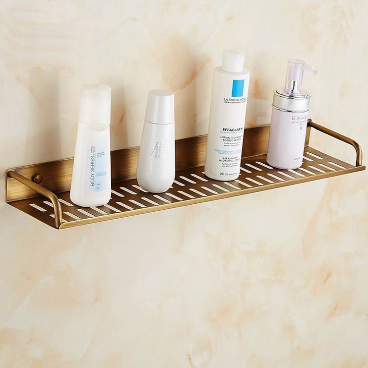 Free Shipping Copper Shampoo Holder Storage Shelf Bathroom Soap Single Glass Shelf Accessories Holder Bathroom Shelves Shelfs