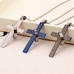 Hot 1Pc Fashion Stainless Steel Pendant Christian Bible Prayer  Cross Pendant Men Necklace Charming Gifts Jewelry 2019