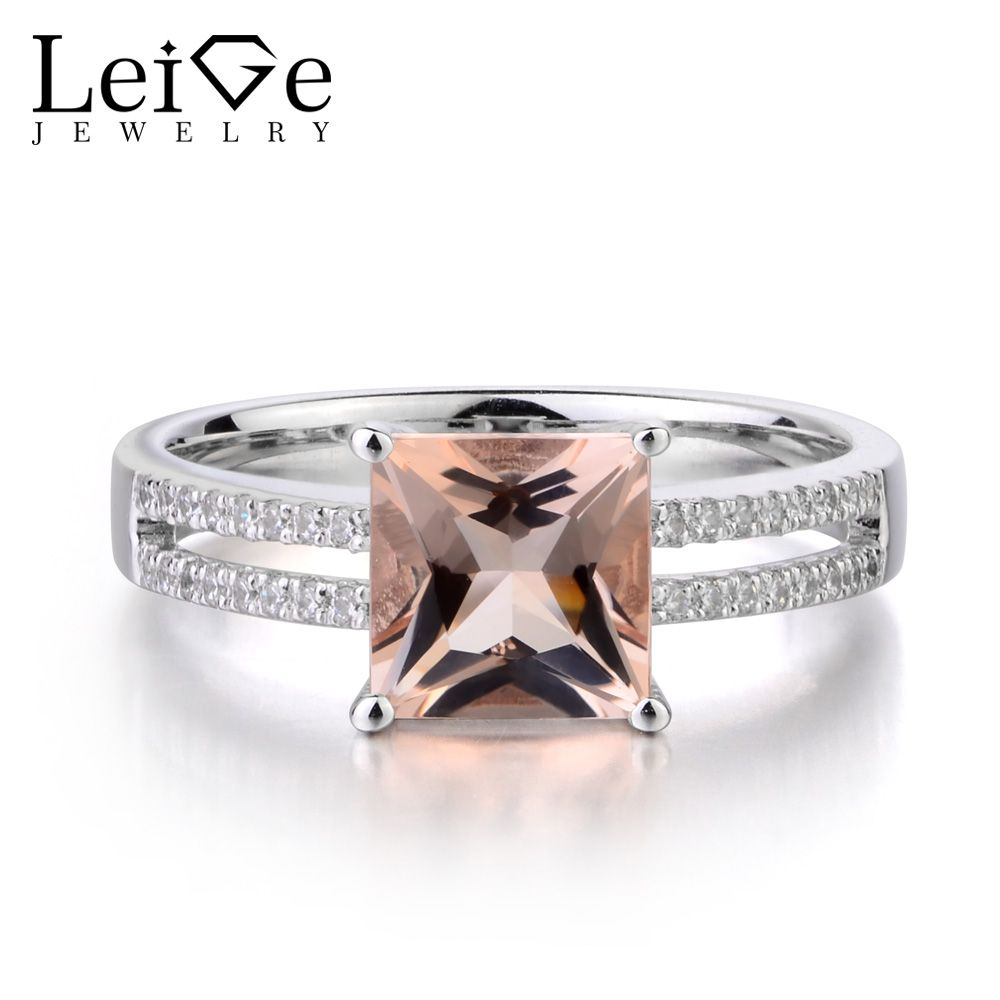 Leige Jewelry Natural Pink Morganite Solid 925 Sterling Silver Ring Princess Cut Gemstone Wedding Engagement Rings for Women