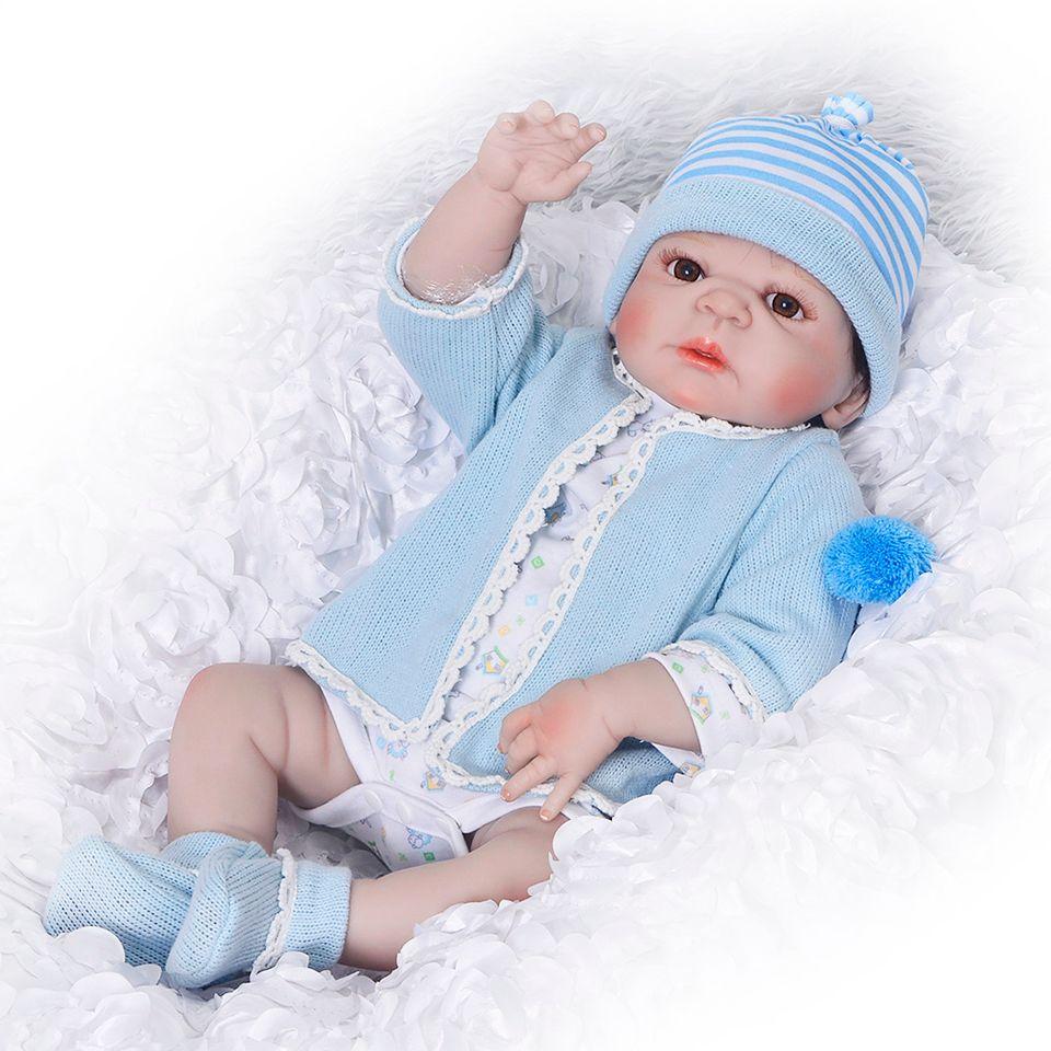 Silicone Full Body Reborn Dolls 23'' Realistic Handmade Baby Dolls Boy Fashion Kids Toy Waterproof Boneca Model Birthday Gifts