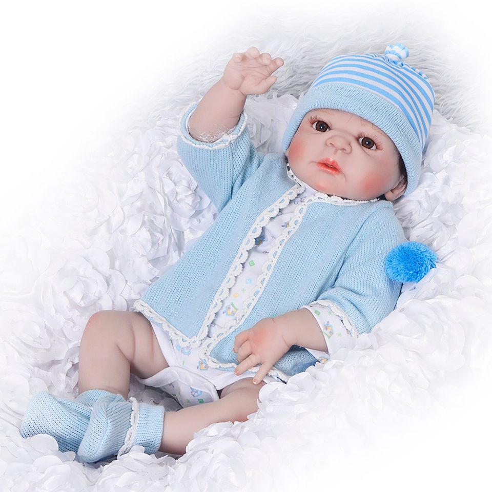 Silicone Full Body Reborn Dolls 23'' Realistic Handmade Baby Dolls Boy Fashion Kids Toy Waterproof Boneca Model Birthday Gifts