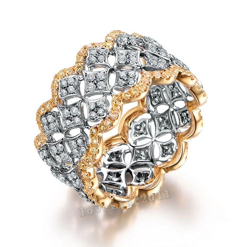 Choucong Pave set 220 pcs AAAAA zircon cz Or Rose 925 Sterling argent Engagement Band Anneau De Mariage pour les femmes