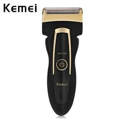 Kemei Electric Razor Shaver Men Rechargeable Rotary with Twin Heads Portable Shaving Razor Electric Shaver Travel House EU Plug