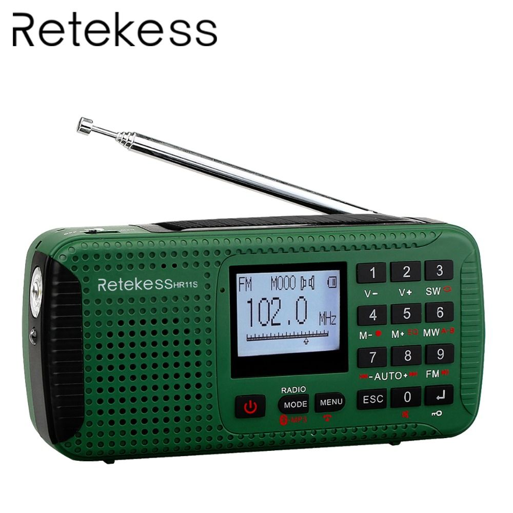 RETEKESS Emergency Radio Portable FM AM SW Hand Crank Solar Bluetooth Stereo Radio Receiver With MP3 Player Digital Recorder
