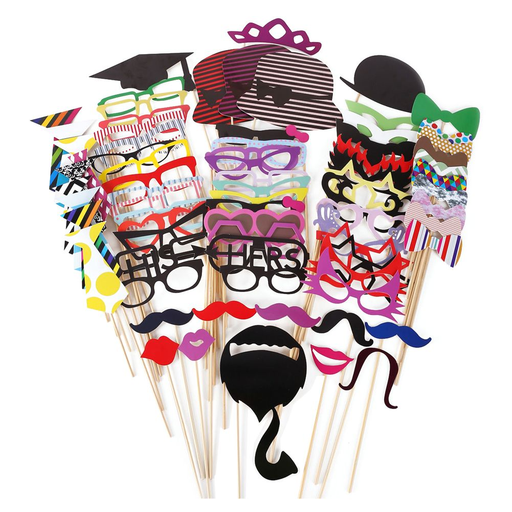 76Pcs/Set Colorful Fun Lip Mustache Creative Photo Booth Props Wedding Party Decoration Birthday Christmas New Year Event Favors
