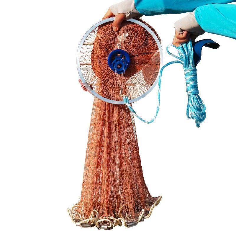 Hohe Festigkeit Reifen Verwendung Linie Casting Angeln Netzwerk Mit Platinen 240 cm Durchmesser Amerikanische Hand Cast Fischernetz Mit Dicken seil