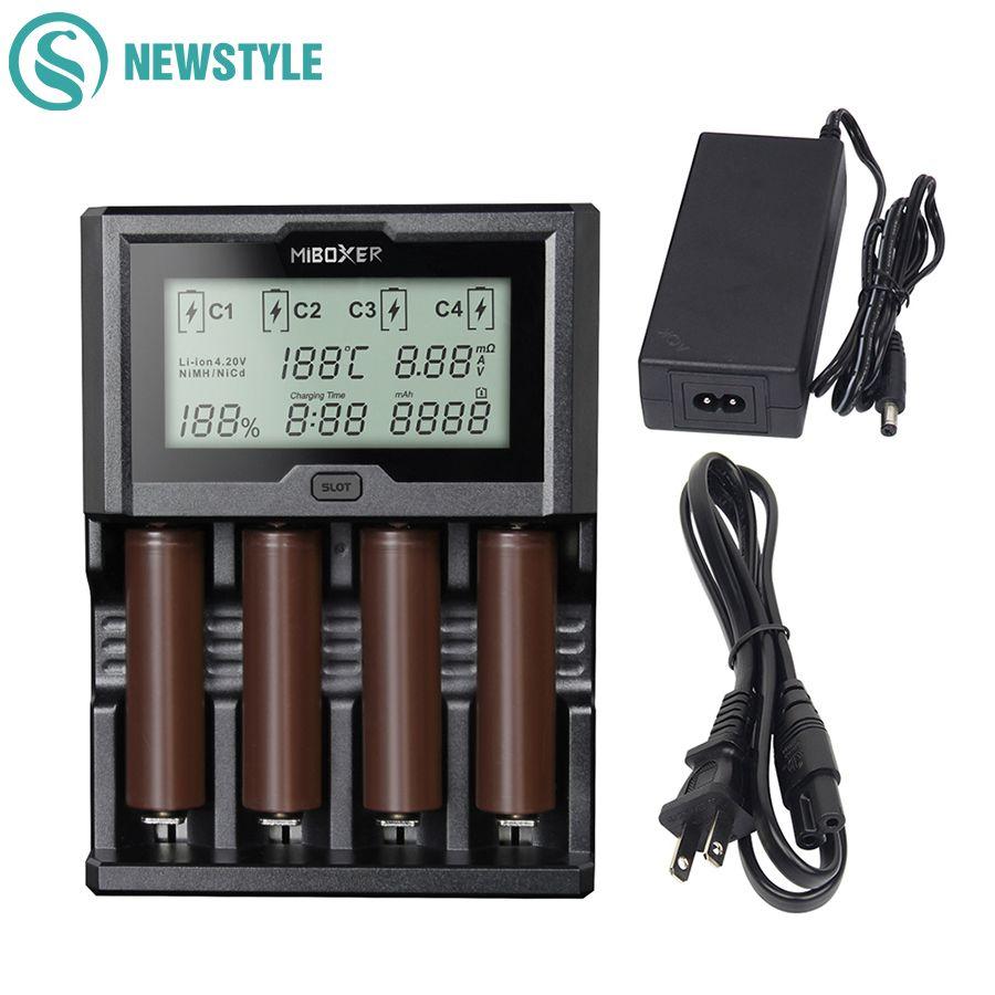 Miboxer 4 Ranuras 3A/slot LCD Cargador de Batería 18650 Cargador 12 V Con Función de Banco de Potencia Rápido Completamente Automático para 26650 AA AAA