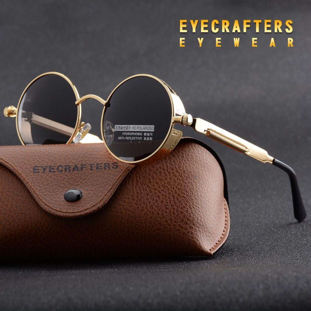 Gold Metal Polarized Sunglasses Gothic Steampunk Sunglasses Mens Womens Fashion Retro Vintage Shield Eyewear Shades 372 Red