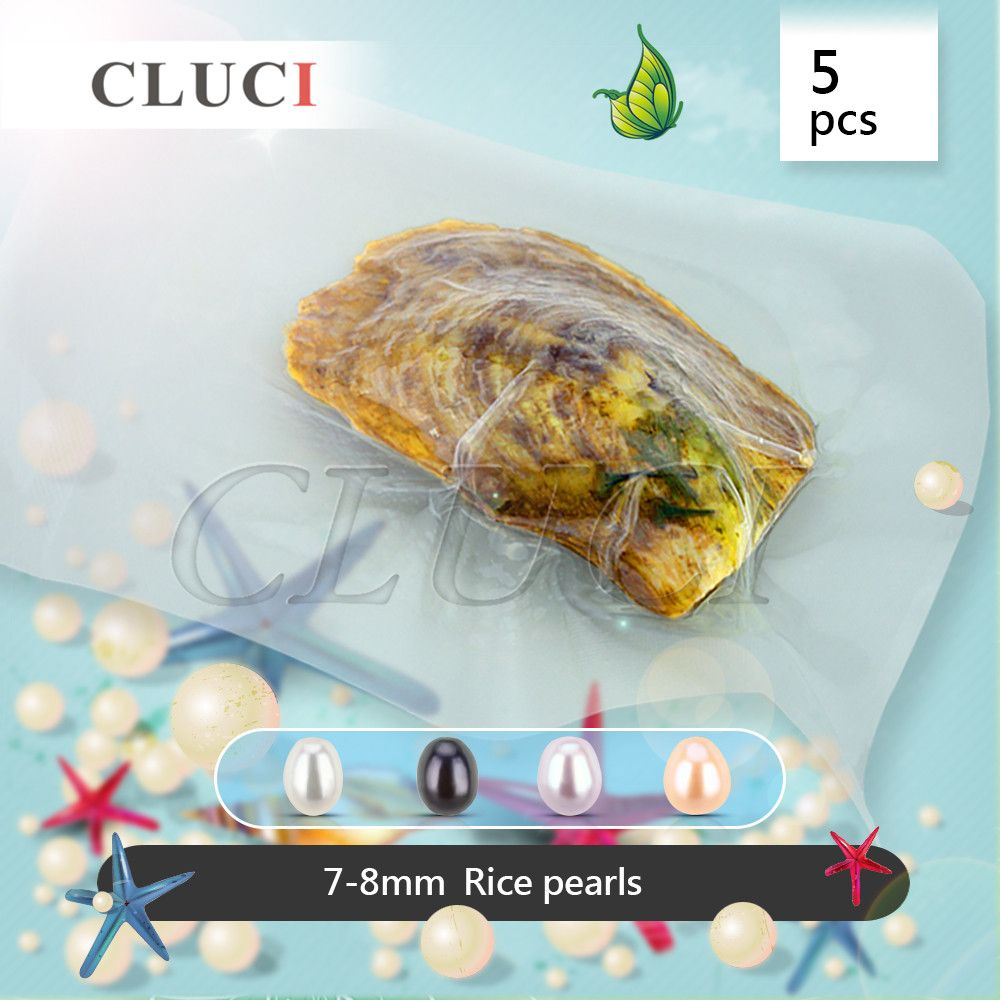 CLUCI Best gift, 5pcs AAA grade vacuum-packed 7-8mm freshwater rice pearl oyster, pearls beads to make rings/earrings/necklaces