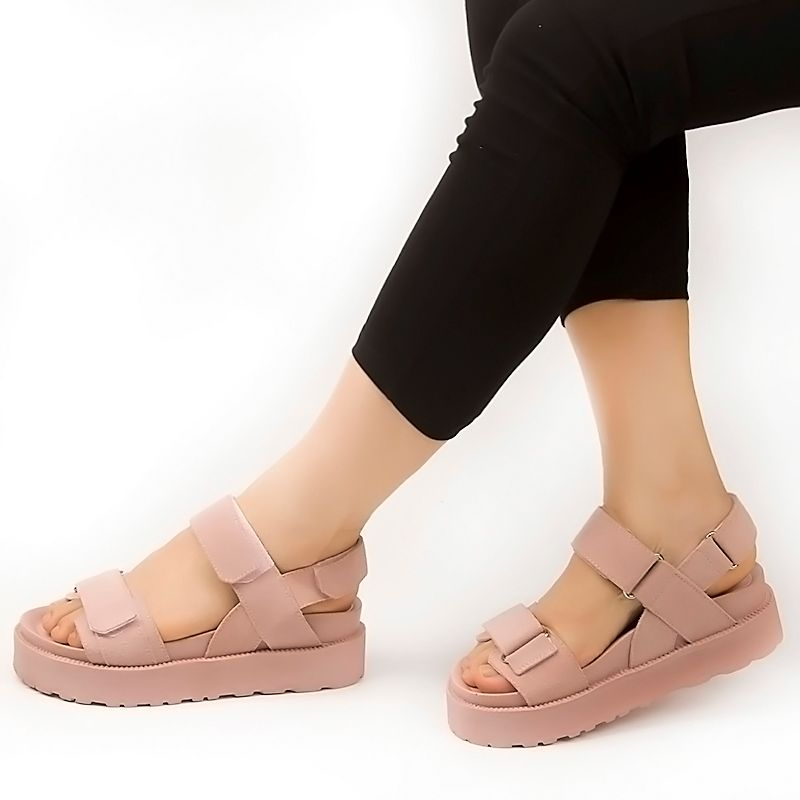 Fujin Brand 2018 Summer Genuine Leather Flat Sandals Shoes for Women Platform Sandals with High Heel Lady Leather Shoes Footwear