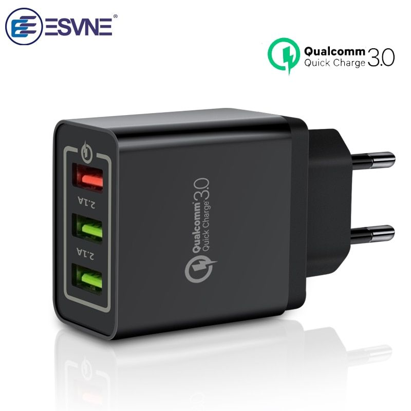 ESVNE 3 Port USB Charger quick charge 3.0 qc 2.0 for iPhone Fast Charging for Samsung Xiaomi Huawei Mobile Phone Wall Charger