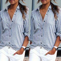 Blusa de las mujeres más tamaño 2018 verano mujeres Tops sexy casual suelta rayas verticales manga larga blusa camisa blusa feminina Vestido
