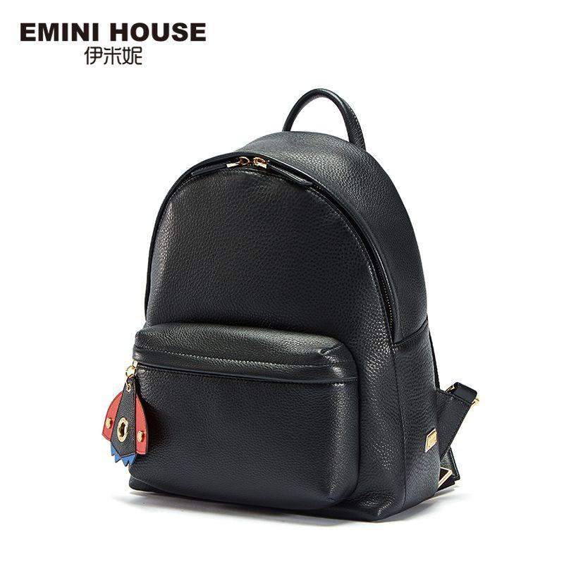 EMINI HOUSE Backpack Female Leather Space Series Back Pack Rommy Bagpack Genuine Leather Backpack School Bags For Teenage Girls