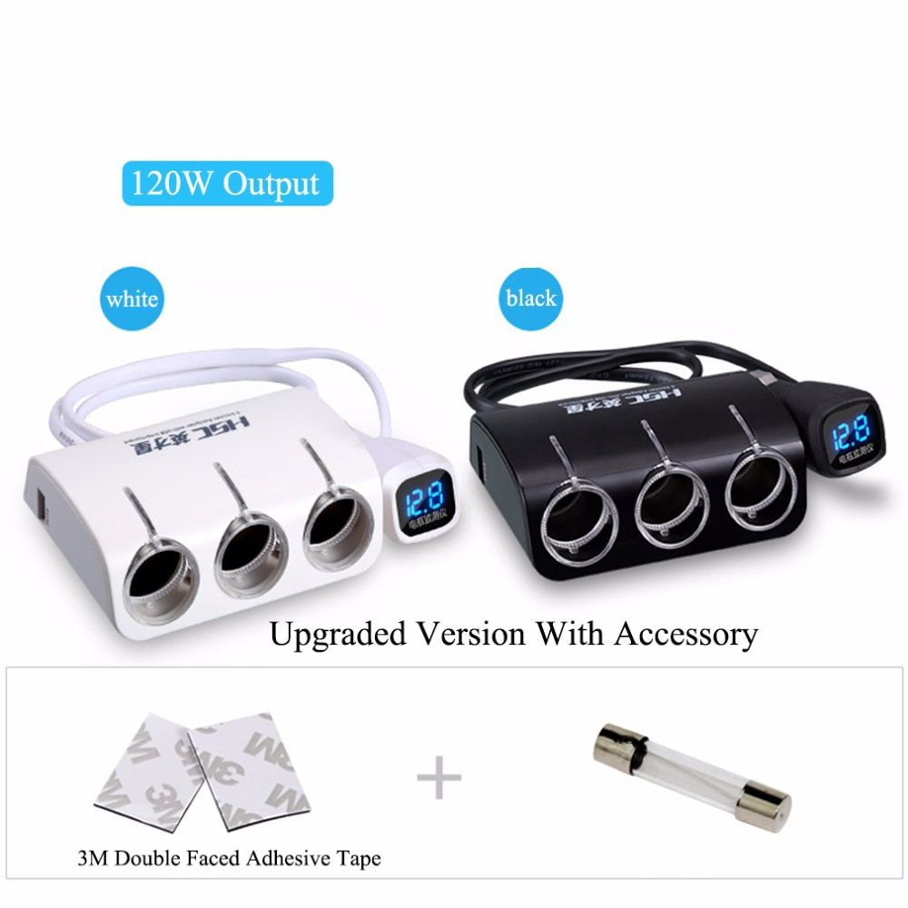 New 3 Sockets Way Car Dual 2 USB Car Charger Cigarette Lighter / Splitter Power Adapter for iphone for samsung/ Car DVR GPS Hot!