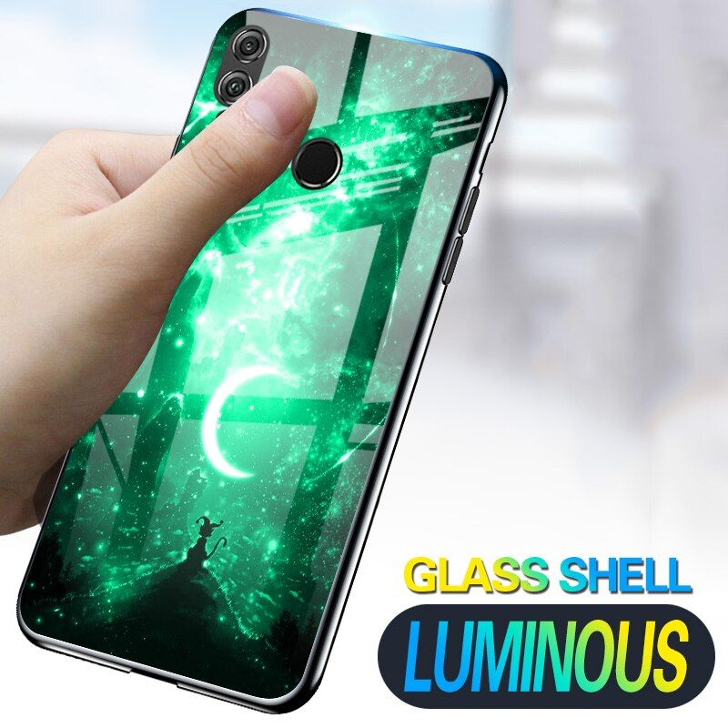 Luminous Phone Cases For Huawei P Smart FIG-LX1 Space Night Shine Glass Case For Huawei Honor 7X 8X Cover Shell