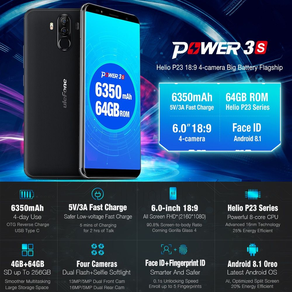 6350mAh 6.0 HD Ulefone Power 3s Smartphone 4G Android 8.1 Octa Core 4GB+64GB Apr18