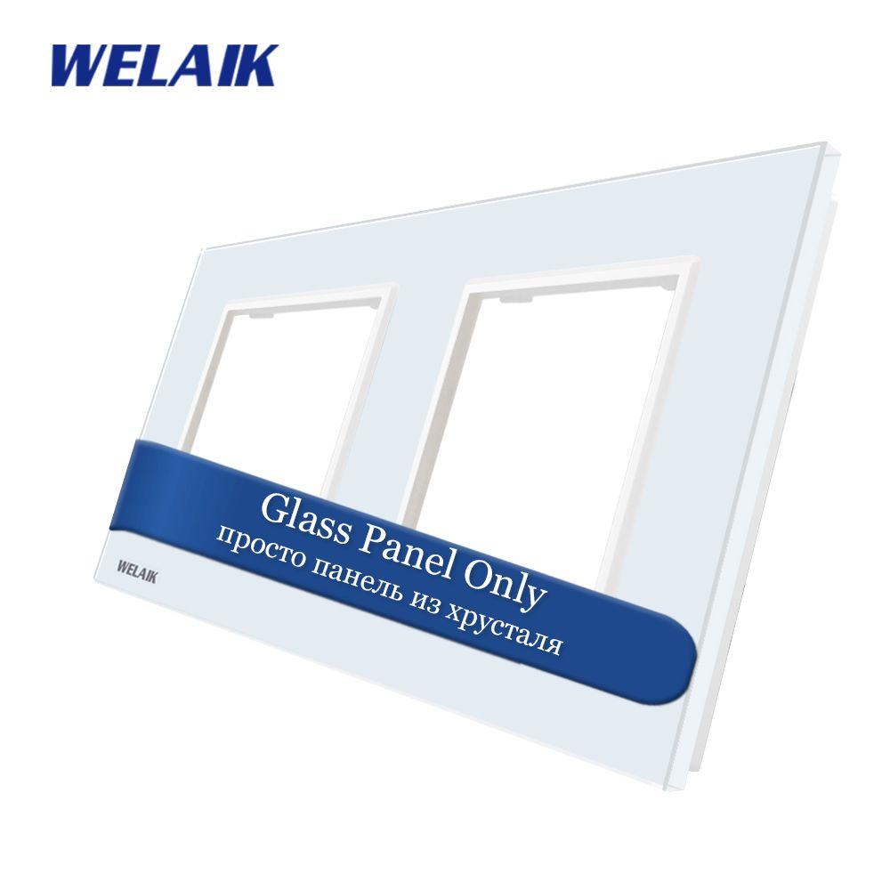 WELAIK EU Touch-interrupteur bricolage-pièces verre-panneau uniquement-applique murale-interrupteur cristal-panneau en verre-carré-trou A288W/B1