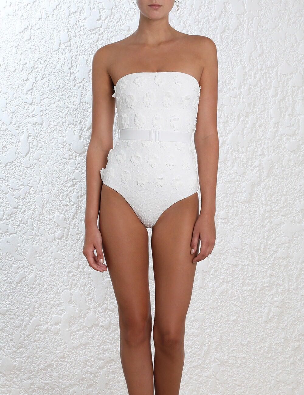 Women Lumino Daisy Embroidered Swimsuit White Flower Embroidery One-piece Playsuit