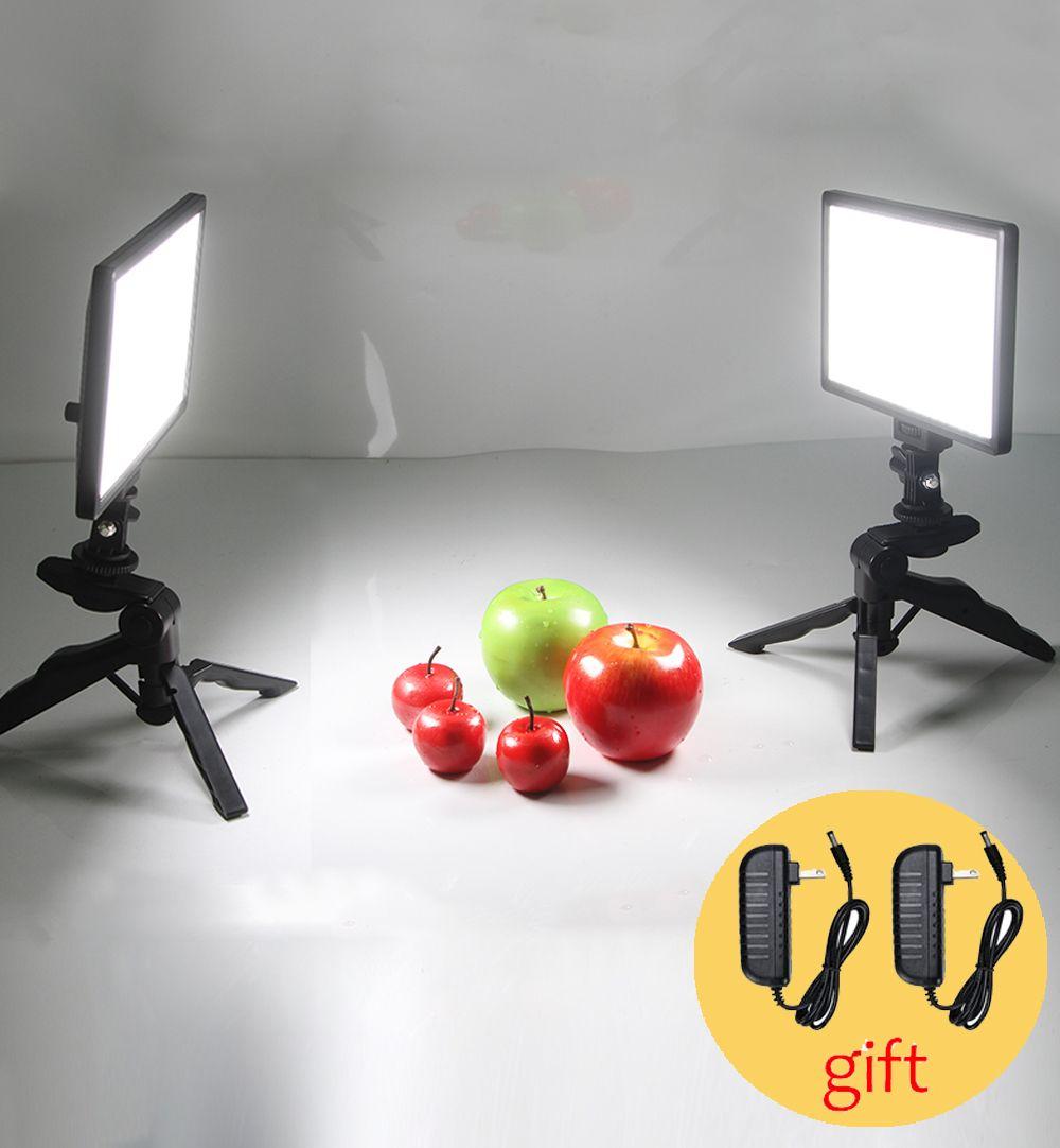 Table Photo Studio Set 2x Viltrox L116T Bi-Color Dimmable LED Video Light + 2x Mini Tripod + 2x 2M AC Adapter for DSLR Photo