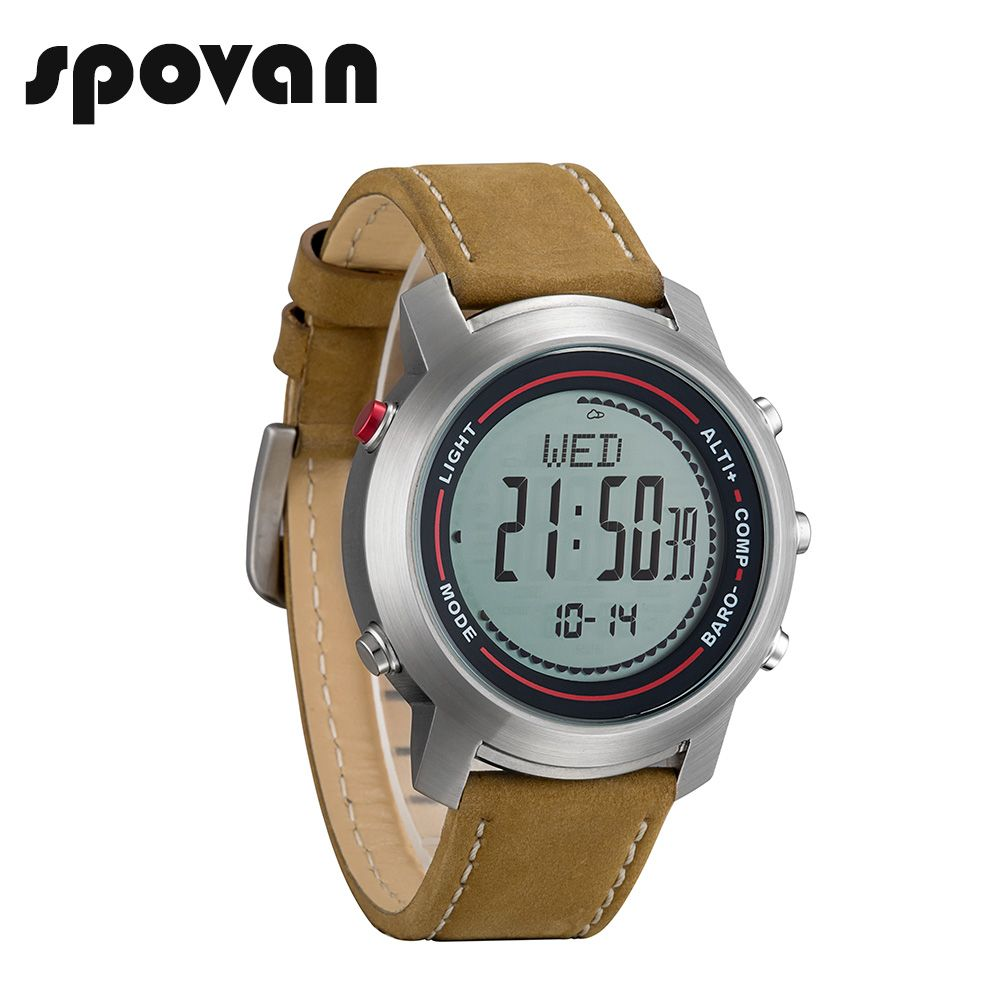 SPOVAN MG01a Sport Watch Men, Genuine Leather Band, Sports Watches Compass/Pacer/Waterproof/LED Backlight