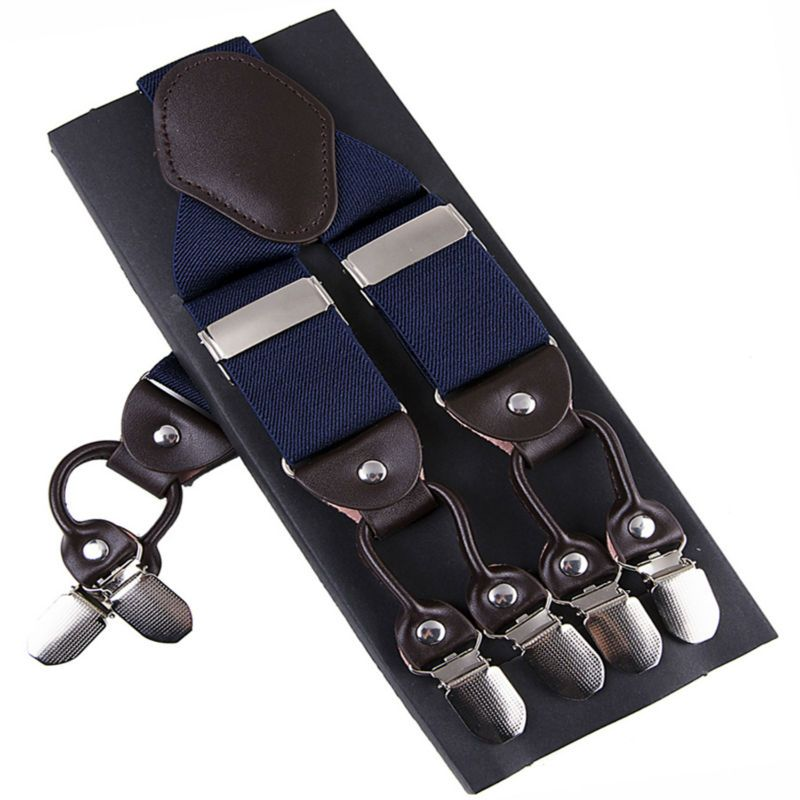 Fashion Suspenders leather 6clips Braces Male Vintage Casual Suspensorio Tirante <font><b>Trousers</b></font> Strap Father/Husband's Gift 3.5*120cm