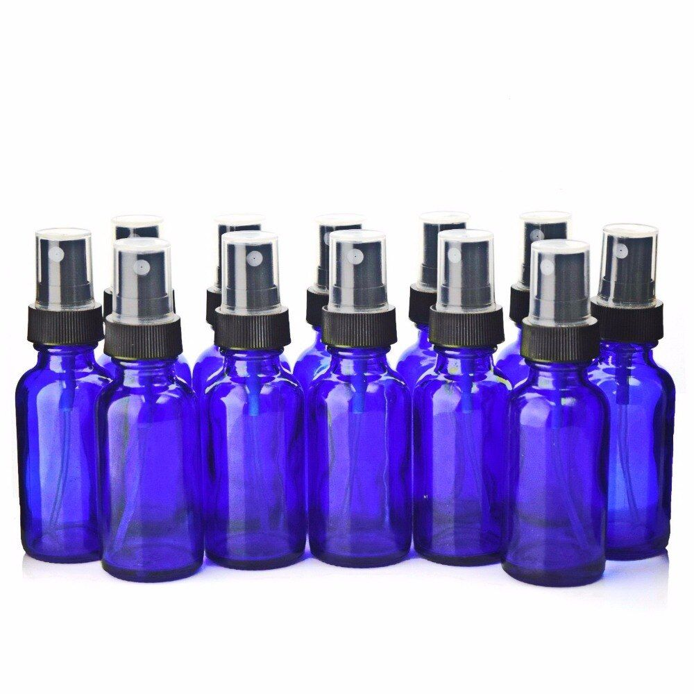 12 X 1Oz Empty 30ml Cobalt Blue Glass Spray Bottle Containers with Black Fine Mist Sprayer for essential oil cosmetic refillable