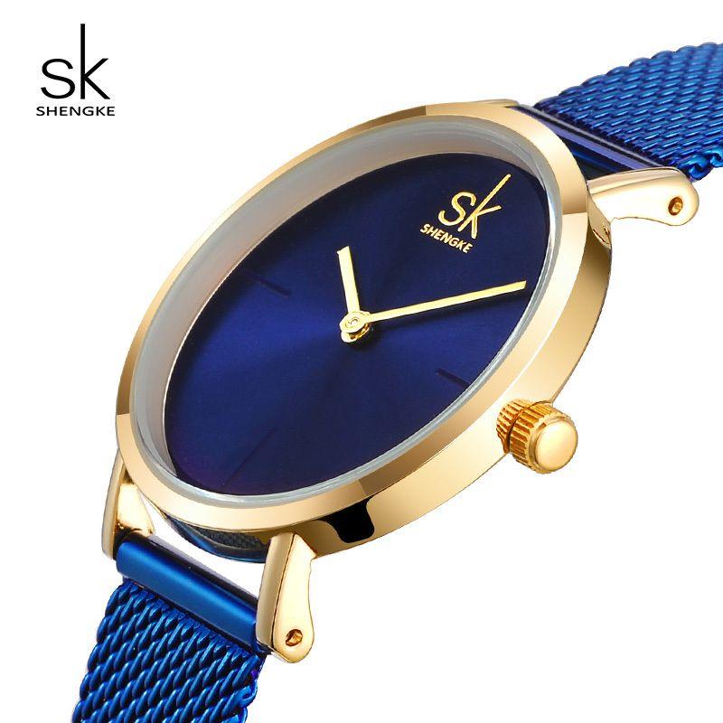 Shengke Montre-Bracelet Femmes En Acier De Mode Montres À Quartz Bracelet Horloge Relogio Feminino 2017 SK Creative Dames Montres # K0043