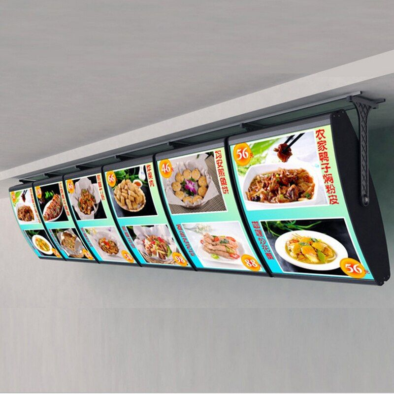 (6 Grafiken/spalte) Decke Menü Gebogene Illuminedge Leuchtkästen, Led Menü Hintergrundbeleuchtete Display Zeichen für Restaurant mitnehmen