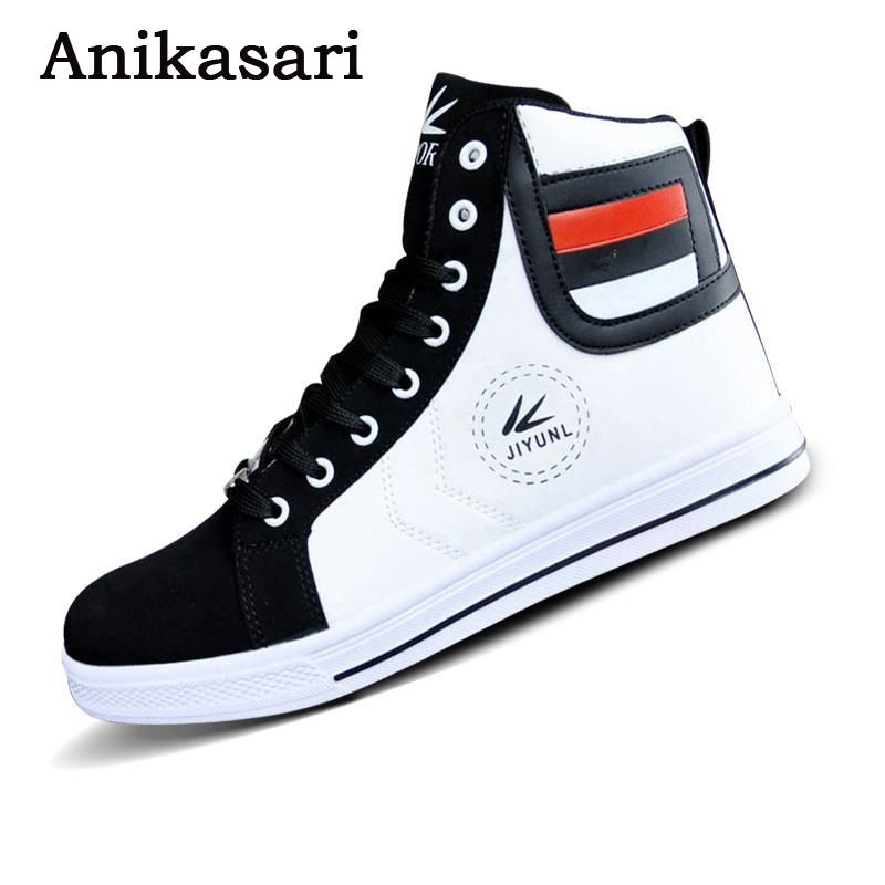Mens Trainers High Tops Shoes For Men Casual Shoes Leather Boots Lace Up USA Street Style Men Skate Board Shoes Chaussure Homme