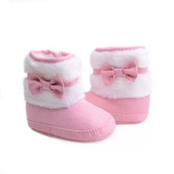2017 Knitting Hand-made Bowknot Fleece Snow Boots For Baby Girl Boy Anti-silp Prewalker Booties Baby Shoes 0-18 Months
