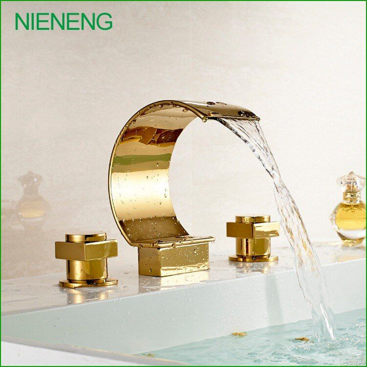 NIENENG bath sink new golden copper luxury bathtub mixer 3 hole gold color bathroom sink tap faucet water tub faucets ICD60297