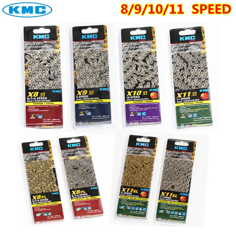 kmc chain x8 x9 x10 x10sl x11 x11sl gold silver chain mtb road bicycle for <font><b>shimano</b></font> sram chain 8 9 10 11 SPEED 116L chain bike