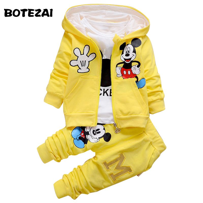 2017 New Chidren Kids Boys Clothing Set Autumn Winter 3 Piece Sets Hooded Coat Suits Fall Cotton <font><b>Baby</b></font> Boys Clothes Mickey
