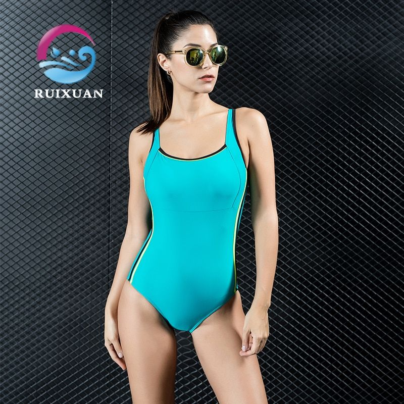 Women Professional Swimming Sports Suit Patchwork One Piece SwimSuit Beach Bathing Swim Suits Set Push Up Slim Swimwear 7716