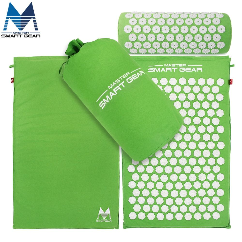 Yoga Mat Acupressure Mat With Pillow Set Back <font><b>Body</b></font> Massager Relieve Stress Tension Pain Relaxation Massage Mat With Carry Bag