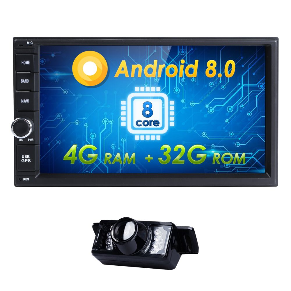 2DIN Android8.0 4GRAM+32GROM AutoRadio OctaCore 7Inch Universal Car NO DVD Player GPS Stereo Audio Head Unit Support DAB DVR OBD