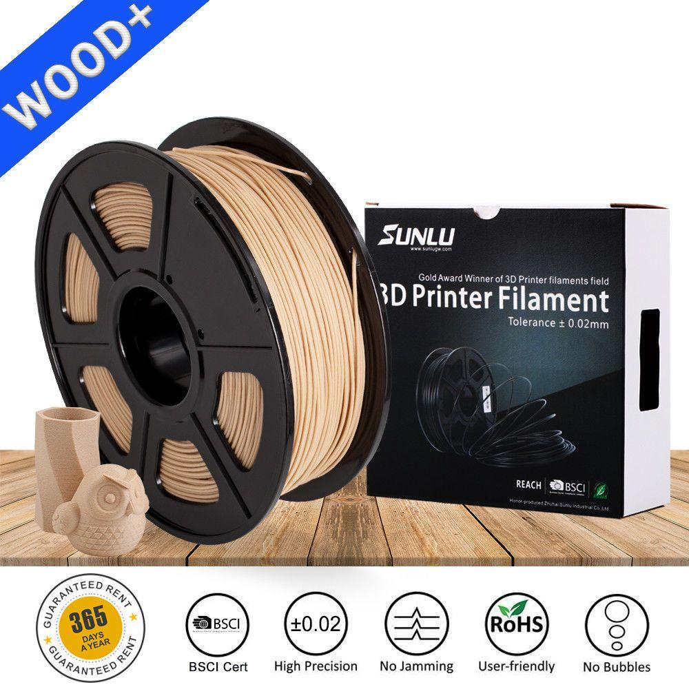 Sunlu nouveau bricolage cadeau 3D Imprimante Bois fibre Filament 1.75mm 1 KG/Rouleau 2.2LB En Bois Des Effets Similaires Avec PLA réel comme bois couleur