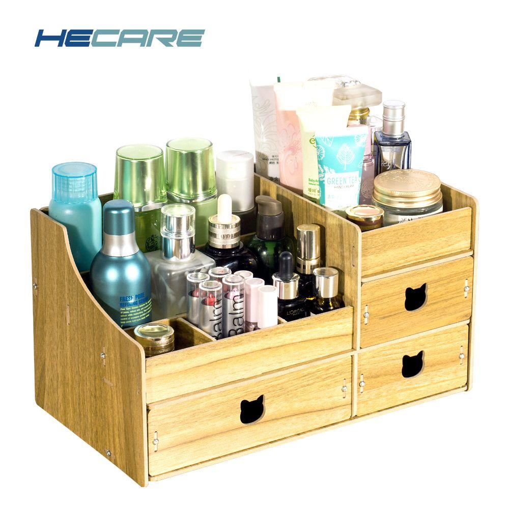 HECARE pliant tiroirs en bois boîte de rangement bijoux conteneur fait à la main bricolage assemblage cosmétique organisateur maquillage organisateur boîte Case